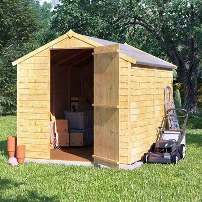 8x6 Overlap Wooden Garden Storage Shed Single Door Windowless Apex Roof 8ft 6ft - Premium