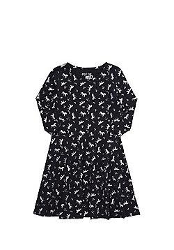 F&F Glitter Unicorn Skater Dress - Black
