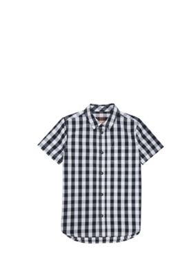 F&F Gingham Short Sleeve Shirt Black/White 5-6 years