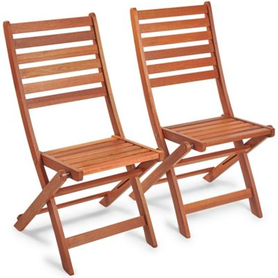 VonHaus Set of 2 Wooden Garden Chairs - Hardwood Folding Outdoor Patio Chairs