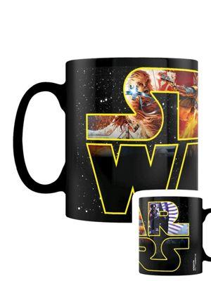 Star Wars Logo Characters Heat Changing 10oz Ceramic Mug, Black