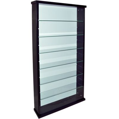 Perfect Exhibit   Solid Wood 6 Shelf Glass Wall Display Cabinet   Black