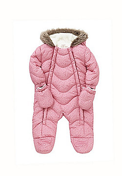F&F Marl Print Shower Resistant Pramsuit with Mittens - Pink