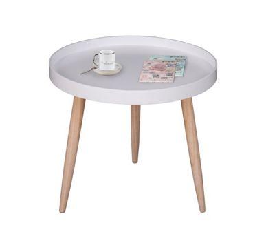 Pieta Round Wooden Side Table-White