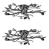 Pair of Blossom Five Way Flush Ceiling Lights, Black Chrome