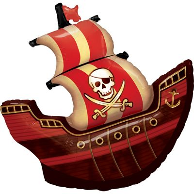 Birthday Pirate Ship Shaped Balloon - 40 inch Foil