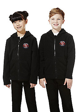 Unisex Embroidered School Zip-Through Fleece with Hood - Black