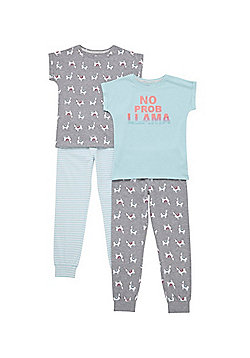 F&F 2 Pack of No Prob-Llama Slogan Pyjamas - Multi