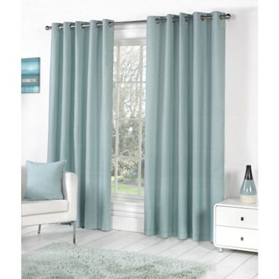 Fusion Sorbonne Eyelet Lined Curtains Duck Egg Blue - 90x90 (229x229cm)