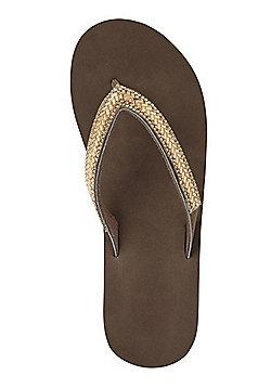 F&F Jewelled Wedge Flip Flops - Bronze