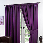 "Dreamscene Pair Thermal Blackout Pencil Pleat Curtains, Plum - 46"" x 54"" (116x137cm)"