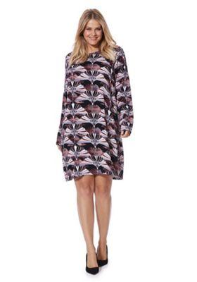 Junarose Floral Long Sleeve Plus Size Dress 26 Black