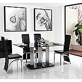Vienna Black Glass 160 cm Dining Table with 6 Black Alisa Chairs