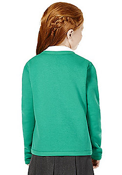 Girls Embroidered Jersey School Cardigan with As New Technology - Jade green