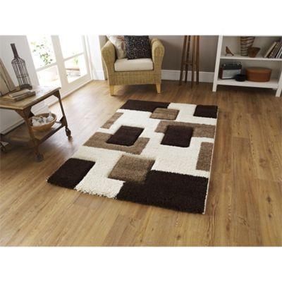 Fashion Ivory & Brown Brick Rug - 160x230cm