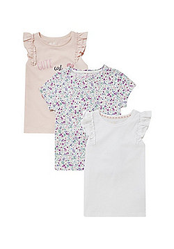 F&F 3 Pack of Cat and Floral T-Shirts - Multi