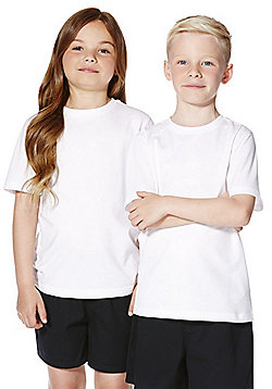 a0c79ca3 F&F School 2 Pack of Unisex T-Shirts with As New Technology - White