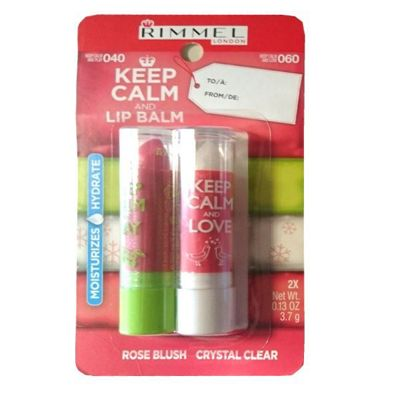 Rimmel Keep Calm And Lip Balm 2 x 3.7g - 040 Rose Blush and 060 Crystal Clear