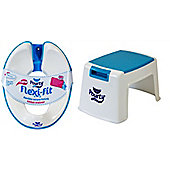 POURTY BUNDLE - Pourty Flexi Fit Toilet Trainer (White/Blue) AND Pourty Step Up - BLUE - 2 ITEMS SUPPLIED