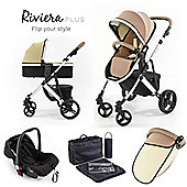 Riviera Plus 3 in 1 Silver Travel System, Taupe & Pistachio