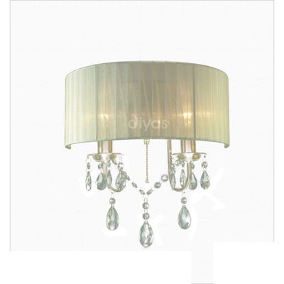 Wall Lamp Switched With Cream Shade 2 Light Crystal