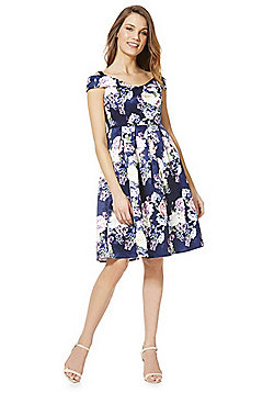 Mela London Floral Printed Bardot Dress - Blue