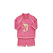 F&F UPF 50+ Rash Vest and Shorts Set - Bright pink