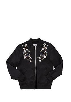 F&F Embroidered Satin Bomber Jacket - Black
