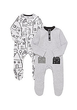 F&F 2 Pack of House Print Sleepsuits - Grey