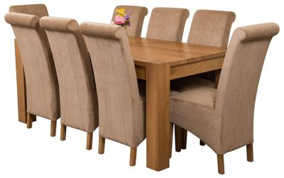 Kuba Chunky 180cm Kitchen Solid Oak Dining Set Table + 8 Beige Fabric Chairs
