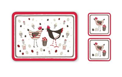 Cooksmart Chicken Design Placemats & Coasters, Set of 4