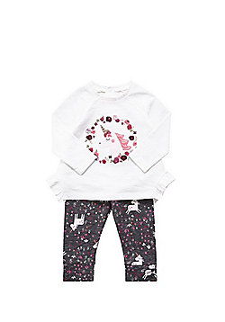 F&F Unicorn Embroidered T-Shirt and Leggings Set - Multi