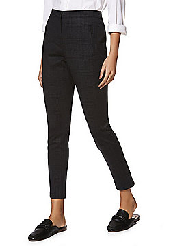 F&F Checked Ponte Skinny Trousers with As New Technology - Grey & Black