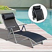 Outsunny Patio Sun Lounger Texteline Foldable Reclining Chair w/ Pillow (Black)