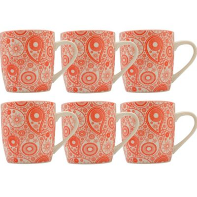 Coral / Orange Paisley Design Tea / Coffee Mug - 280ml (10oz) - Box of 6