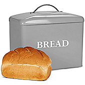 Andrew James Vintage Bread Bin with Lid - Large Storage for Loaves & Rolls - Retro Grey