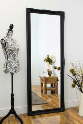 Large Black Shabby Chic Ornate Big Wall Mirror Bargain 6Ft6 X 2Ft6 198cm X 75cm