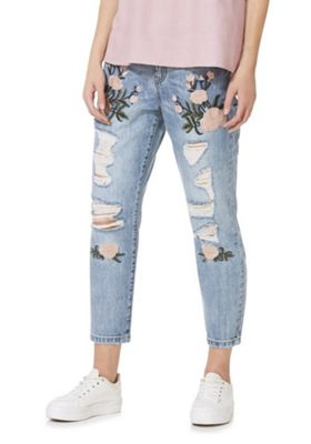 Only Embroidered Ripped Low Rise Boyfriend Jeans Blue 27 Waist