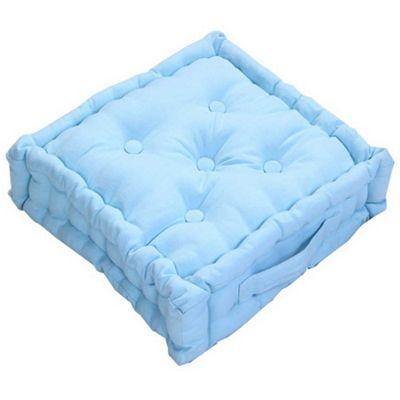 Homescapes Cotton Blue Floor Cushion, 40 x 40 cm