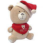 Natures Purest My First Christmas Hug Me Velour Bear with Hat and Bib