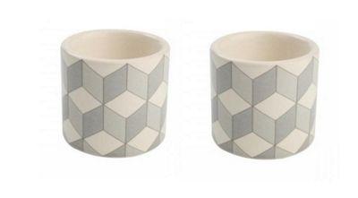 T&G City Ceramics Egg Cup Grey White in Cube Design x 2