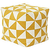 Kaikoo Printed Dhurrie Cube Yellow