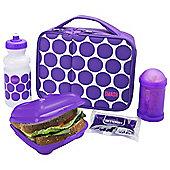 Smash Purple Spots 5 Piece Lunch Bag & Water Bottle Set