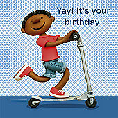 Holy Mackerel Greeting Card - Birthday scooter Birthday Greetings card