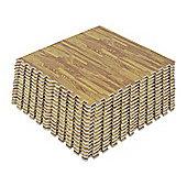 Homcom Interlocking EVA Foam Wood Grain Floor Mats (Shallow wooden, 64 SQ FT / 16 Mats)