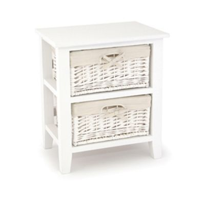 White Paulownia Wood 2 Drawer Unit