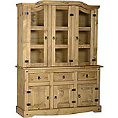 Corona Mexican 4'6 Buffet Hutch Distressed Waxed Pine/Clear Glass