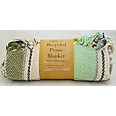 Country Club Recycled Cotton Picnic Blanket 120 x 150cm, Teal Green