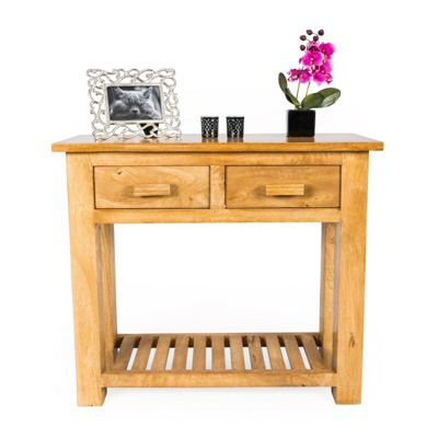 Homescapes Mangat Small Console Table Oak Shade