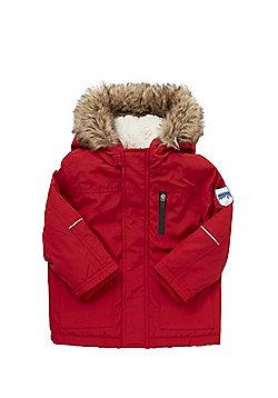 F&F Padded Faux Fur Trim Parka - Red
